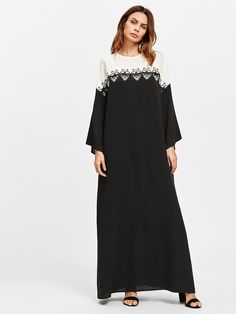 Shop Lace Applique Two Tone Kaftan Dress online. SheIn offers Lace Applique Two Tone Kaftan Dress & more to fit your fashionable needs. Caftan Dress, Dress P, Kaftan, Abaya Fashion, Muslim Fashion, Fashion Dresses, Fancy Dress Design, Cotton Long Dress, Muslim Dress
