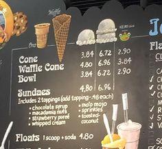 Classic Scoops: The Best Old-Fashioned Ice Cream Parlors Ice Cream Menu, Love Ice Cream, Ice Cream Parlor, Chalk Menu, Ice Cream Business, Old Fashioned Ice Cream, Gelato Shop, Bakery Menu, Frozen Yogurt Shop
