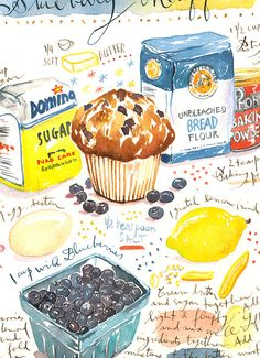 Blueberry muffin recipe print Illustrated recipe di lucileskitchen