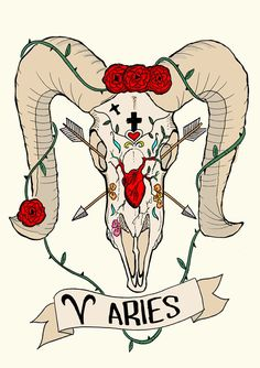 Limited edition ARIES zodiac sign, Original Illustration Ram Skull, Fine Art Print, Roses and anatomical heart, Frida Kahlo