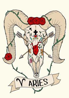 Signe du zodiaque Bélier édition limitée, crâne de bélier Illustration originale, Fine Art Print, Roses et coeur anatomique, Frida Kahlo