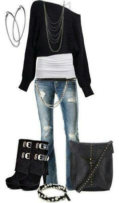 I like the 3 layers, the chain on the jeans, the roughed up jeans, and that black/white bracelet.