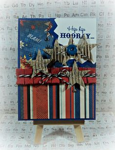 This card is 4th of July to me.  The Superhero paper pack was used to create this card