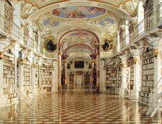 The Admont Abbey Library at the Admont Benedictine Monastery, Austria. Founded in the library is one of the most important and influential cultural resources of Austria. Beautiful Library, Dream Library, Library Books, Future Library, Library Quotes, Grand Library, Library Ideas, Library Pictures, Library Inspiration