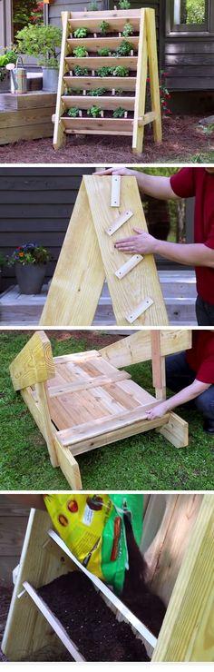 How to Build a Vertical Herb Planter | DIY Garden Projects Ideas Backyards | DIY Garden Decoartions Budget Backyard