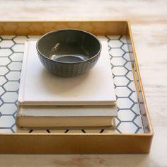Transform a plain gold tray into a stylish honeycomb tray.