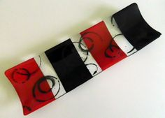 FUSED GLASS Small Channel Plate, Red and Black - Handmade by AjMcKeeFusedGlass on Etsy
