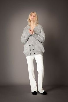 2021-22 A/W 025, Kid Mohair Knit Bubble Sweater FRC-K03-901F, Kid Mohair Knit Bubble Cardigan FRC-K04-901F, Washable Wool Rib Knit Straight Pants FRC-P12-903 Rib Knit, Monochrome, Knitwear, Wool, Knitting, Sweaters, Pants, Collection, Bubble