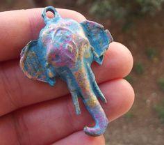 Verdigris Elephant Pendant Patina Charms 47x30mm