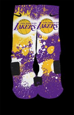 LA Lakers Inspired Custom Nike Elite Socks  Each pair is custom created when you order. There are minor flaws in each creation -- no two socks are the same.  These are authentic Nike Elite socks for sale. The design on the sock was not created by Nike, but was created and customized by me. Th...