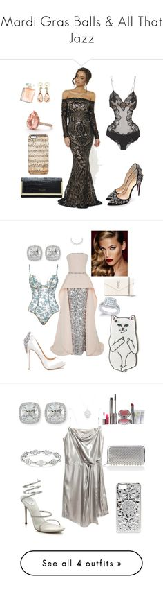 """Mardi Gras Balls & All That Jazz"" by alana-rochelle-young-tezeno ❤ liked on Polyvore featuring Ted Baker, Mishka, Christian Louboutin, Valentin Magro, La Perla, Yves Saint Laurent, Frederic Sage, Badgley Mischka, Charlotte Tilbury and Elizabeth Kennedy"