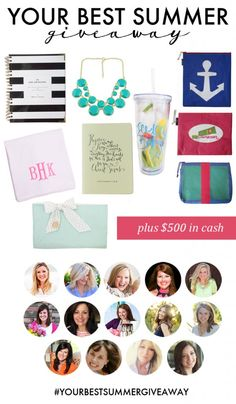 Your Best Summer Giveaway including a 2015 Day Designer by Whitney English, Mommy & Me Beach Towels by the Beaufort Bonnet Company, a prayer journal from Val Marie Paper, Accessory Beach Bags from Hayden Reis, an Ice Ice Baby Tumbler from Ashley Brooke Designs, a double layer necklace from Caroline G, and $500 CASH.