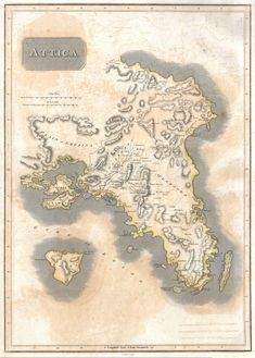 1815 Thomson Map of Attica (Anthens and Vicinity) Greece - Geographicus - Attica-t-1814 - Ampelokipoi, Athens - Wikipedia Athens History, Greek History, Vintage Wall Art, Vintage Walls, Greece Map, Attica Greece, Greek Independence, Le Far West, Vintage World Maps