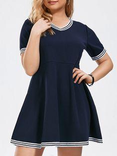 Plus Size Stripe Panel V Neck Fit and Flare Dress in Purplish Blue 5xl   $9.67