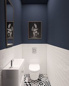 Wonderful! #powderroom #bathroom #floortiles #blue