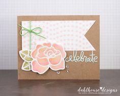 Card by SPARKS DT Lisa Arana PS dies: Roses, Birthday Words, Flag Tags