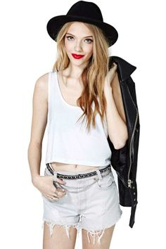 This is me. Crop top, hat, shorts, leather coat, and red lips. Can't handle all of this.