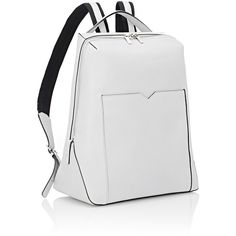 Valextra Zip-Around Backpack (£1,570) ❤ liked on Polyvore featuring bags, backpacks, white backpack, leather daypack, white leather backpack, leather knapsack and white handle bags