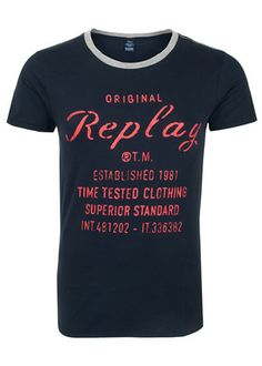 b7b99565d829 Replay Script Logo T-Shirt, from the iconic jeans wear brand Replay.  Featuring