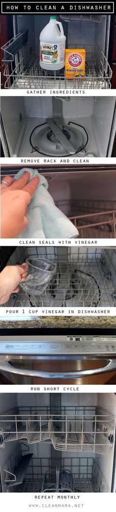 One ingredient dishwasher cleaning- yes, really! No more grime and gunk with this method from Clean Mama.you're supposed to clean your dishwasher monthly? Cleaning Your Dishwasher, Household Cleaning Tips, Cleaning Recipes, House Cleaning Tips, Spring Cleaning, Cleaning Hacks, Dishwasher Cleaner, Kitchen Cleaning, Green Cleaning