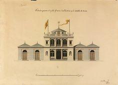 Spanish 18th & 19th century Architectural Sketches &c.: Embarcadero del estanque grande del Retiro. Fachada a los Jardines (Isidro Velázquez) (Iberia)