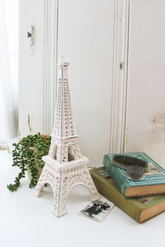 Large Creamy Ivory White Eiffel Tower Cast by Alacartcreations