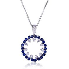 1   3/4 Carat (ctw) Blue Sapphire & Diamond Pendant in 14k White Gold ($1,070) ❤ liked on Polyvore featuring jewelry, pendants, round pendant, 14 karat gold pendants, white gold diamond pendant, white gold diamond jewelry and blue sapphire jewelry