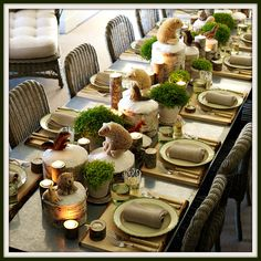 Rustic Woodland Tablescape - For porch area during holidays