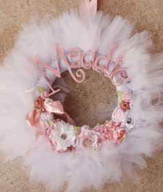 Items similar to The Maddie Wreath- Hospital Baby Announcement Wreath- White and pink Tutu tulle wreath Shabby Chic on Etsy Tutu Wreath, Diaper Wreath, Fabric Wreath, Baby Door Wreaths, Hospital Door Wreaths, Shabby Chic Kranz, Shabby Chic Wreath, Baby Kranz, Tulle Crafts