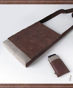 FELT MINIMALIST leather and felt messenger bag