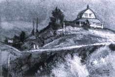 """Philip Koch, Old Railway, Truro, vine charcoal, 9 x 12"""", 1998. Edward Hopper made a painting of this spot from about 100 feet to the right of where I had my easel set up."""