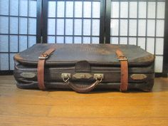 Antique Vintage Luggage Brown Leather Suitcase Cowhide by girlgal6