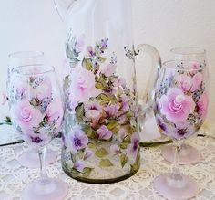 Large Pitcher W/ Set Of 4 Glasses Pink Purple Flowers Juice Ice Tea Lemonade  #Lia