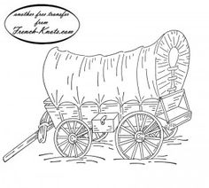 Kid coloring pages of prairie schooners westwardho for Covered wagon coloring page