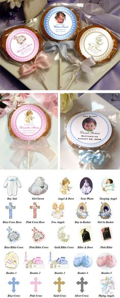 Baptism Christening Cookie Pop Favors by shadow090109 on Etsy, $2.25