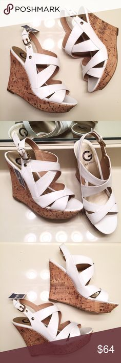 NEW white cork wedge heels by Guess women's size 8 Brand new, never worn and still with tags. Classy white cork wedge heels by Guess with buckle straps. Comes with original box. Women's size 8 Guess Shoes Wedges