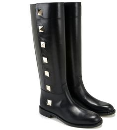 Studded Leather Knee high Boots - Lyst