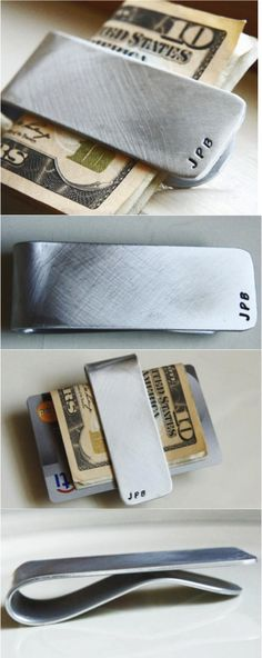 This monogrammed money clip is the perfect groomsmen gift or a thoughtful graduation gift idea! It can be personalized with the initials, phrase, names, or date of your choice. These make awesome groom/groomsmen/best man gifts!  Your personalized money clip will arrive in a black, velvet drawstring bag, ready to give as a gift! | Made on Hatch.co by independent designers and makers.