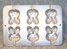 Vintage 1996 WILTON Aluminum Easter Bunny Cake Pop Or Jello Or Candy Mold Pan #Wilton
