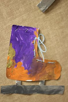 I is for Ice Skate. Cutting, Painting, and Lacing activtity Winter Kids, Winter Sports, Winter Activities For Kids, Preschool Winter, Projects For Kids, Art Projects, Kindergarten Themes, 2nd Grade Art, Letter Of The Week
