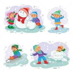 Buy Set Vector Winter Icons with Little Children by vectorpocket on GraphicRiver. A set of vector icons of small children mold snowmen, playing snowballs, sledding and ice skating Preschool Learning, Preschool Activities, Merry Christmas Vector, Winter Activities For Kids, Little Children, Cartoon Kids, Sled, Print Patterns, Childhood
