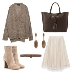 Cosy autumn set with chiffon skirt by mangusta on Polyvore featuring polyvore, fashion, style, Zara, Gianvito Rossi, Neiman Marcus, Carla Amorim, Gérard Darel and clothing