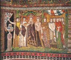 San Vitale Ravenna, mosaic of Empress Theodora entering the church bearing the wine for the sacrament