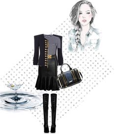 """Strip top"" by ivybui on Polyvore"