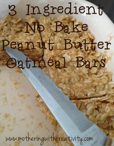 3 Ingredient, no bake, peanut butter oatmeal bars…simple and delicious treat! 3 Ingredient, no bake, peanut butter oatmeal bars…simple and delicious treat! Oatmeal Recipes, Snack Recipes, Dessert Recipes, Breakfast Recipes, Cooking Recipes, Diet Recipes, Recipies, Healthy Recipes, Healthy Sweets