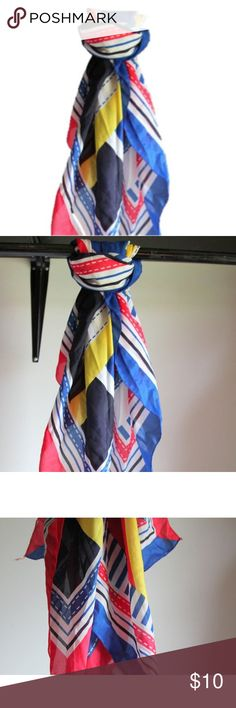 Colorful Scarf Vintage Mod Scarf Fabric Square Beautiful vintage scarf in bright bold colors and patterns. Great to wear or use as a textile decor.  Condition: Great  Material:  Polyester  Measures 34 inches x 34 inches square Unique Vintage Accessories Scarves & Wraps