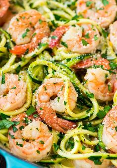 Skinny Shrimp Scampi with Zucchini Noodles. Easy, low carb version of the classic pasta dish that can be made without wine. Recipe at wellplated.com | @wellplated via @wellplated