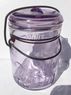 VINTAGE PINT LAVENDER AMETHYST LIGHT PURPLE BAIL WIRE DOUBLE SAFETY FRUIT JAR