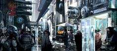 """Streetdown"" by Stephan Martiniere | #SciFi #Cyberpunk #Cityscape"