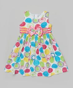 This White & Pink Circle Babydoll Dress - Toddler & Girls is perfect! #zulilyfinds